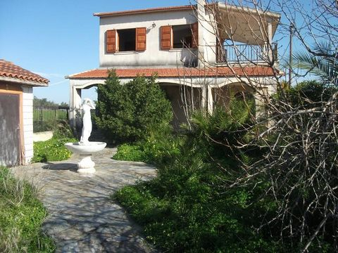 Avlida. For sale a country house of 120 sq.m. in a corner plot of 370 sq.m. in a residential area. It is a neoclassical building completed in 2000 and accessed on one side by an asphalt road and on the other by a dirt road. It has 2 bedrooms (1 on th...