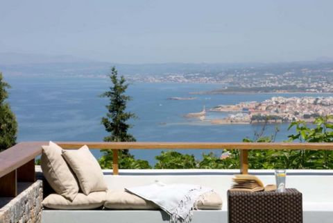Luxury high-end 750sqm house on a 4,000sqm property with a panoramic view, an infinity pool, a heated pool, a gym and a spa. The property, built in 2008, overlooks the town, the old port, the Chania bay, the White Cretan Mountains and the Cretan sea....